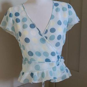 Kenzie sheer turquoise polka dot wrap blouse. Sz 8